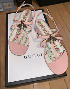 Gucci Lois Women's Pink/Blush Patent Leather Sandal sz 37.5 Bee Msrp $750