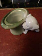 Vintage Antique German Green Porcelain Fairing White Dog/Green Top Hat~Adorable
