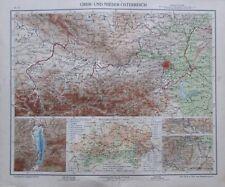 Ober- und Nieder-Österreich - 35x28cm Karte aus 1913 old map