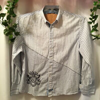 English Laundry 3X White, Blue Plaid , Polka Dots Embroidered Crest Men's Shirt