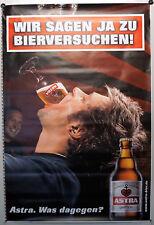 """Astra Bier Poster Bild Werbeschild """"WIR SAGEN JA ZU BIERVERSUCHEN"""" Hamburg NEU"""
