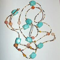"Turquoise color dyed howlite, round gemstone, glass seed beads necklace 56"" long"