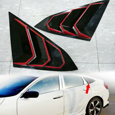 Black + RED For Honda Civic X 10th 4DR Side Window Scoop Louver Cover Trim