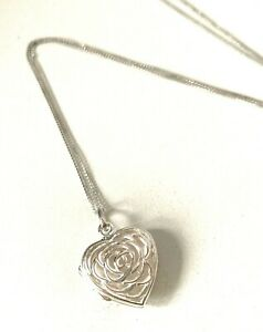 Solid Sterling Silver Open Work Design Heart 2-Picture Locket Pendant Necklace
