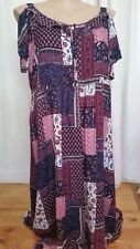 Autograph Purple patch Bohemian ROMANCE cold shoulder Maxi beach dress 20 NEW