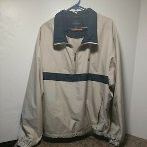 Dockers Golf Mens 1/4 Zip Pullover Jacket XXL Beige Windbreaker 100% Polyester