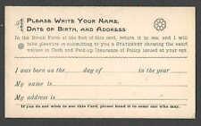 Ca 1887 PC CHICAGO IL GEO T MASON SELL LIFE INSURANCE UNPOSTED