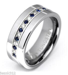 Diamond Sapphire Tungsten Modern Men's Wedding Anniversary Band Ring 8mm 0.25ct
