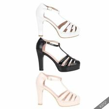 Buckle Synthetic Solid Heels for Women