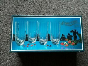Lead Crystal Vintage Glasses Concerto Capri Crystal Boxed BNIB High Tumblers