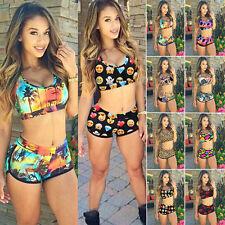 Women's Floral Bikini Set Swimwear Bandeau Crop Tops Shorts Swimsuit Beachwear