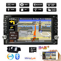 "6.2"" 2 Din Car Radio Stereo MP5 Player GPS SAT NAV AUX USB Bluetooth DAB +Camera"