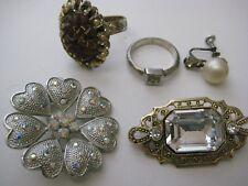 LOT womens old jewelry Rhinestone brooch pin rings amber pearl screw earring