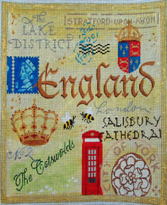 HP Needlepoint 18ct KATE DICKERSON England Collage The Crown, Phone Booth-OZ40
