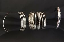 Silver Tone Plated Bracelet Lot Of 4 Bangle Cuff Various Sizes