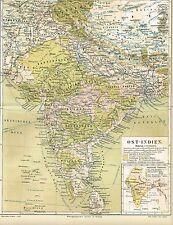Karte von INDIEN / OST-INDIEN 1888 Original-Graphik