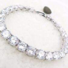 wedding jewelry bracelet chain clear round stone quartz 18k white gold gp link
