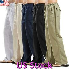 US Mens Baggy Sweat Pants Yoga Loose Elasticated Trousers Straight Open Bottom