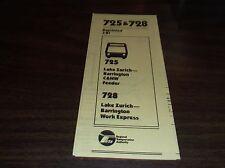 MARCH 1981 CHICAGO RTA ROUTE 725/728 LAKE ZURICH BUS SCHEDULE
