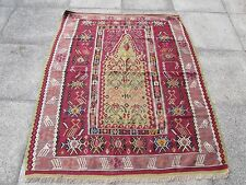 Bell 'antico fatto a mano turco Rosso Verde Viola Lana Kilim Tappeto 162x138cm