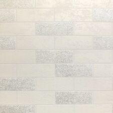 CERAMICA WHITE GLITTER TILE BRICK WALL VINYL WALLPAPER FINE DECOR FD41460