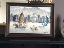 Oriental Chinese Original John Ho 1970s Junk Boats & buildings painting Signed