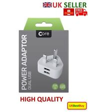 Core USB Wall charger mains plug adapter for mobile and USB charging cable White