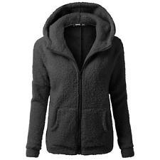 Korea Women Fur Coats Jackets Winter Warm Hooded Zipper Casual Long Sleeve black