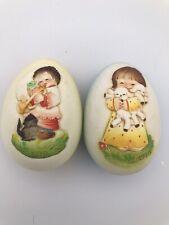 Anri Juan Ferrandiz Annual Wood Egg Collectible Set Of Two 1 '78 And 1 '79