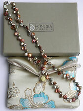 "LOVELY HONORA AUTUMN PETAL KESHI PEARL 18"" STERLING NECKLACE -QVC-EUC!"