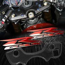 Handle Yoke Carbon Fiber Look Cover+Chrome Red Emblem Sticker 08+ GSX1300R Busa