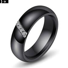 Ceramic Ring Unique Ring For Women Gift Cubic Zircon Crystal Black 9#