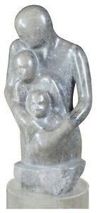 """1978 G. Turner Woman with Children Figural Marble Sculpture & Lucite Stand 60"""""""
