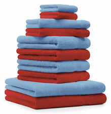Betz lot de 10 serviettes Premium: rouge & bleu clair, 100% coton