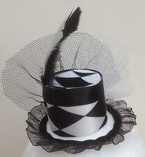 Black and White Harlequin mini top hat fascinator Smaller Version