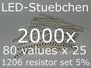 SMD Widerstandssortiment 1206 5%, 80 Werte x 25 Stück = 2000 Stück
