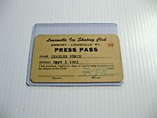 1951 Louisville Ice Skating Club Press Pass Historical Collectible Armory