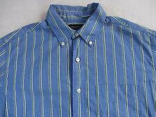 American Eagle Men's Long Sleeve Button Down Blue/Green Striped Dress Shirt - M