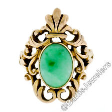 Vintage 14k Yellow Gold Oval Bezel Set Jade Solitaire Renaissance Revival Ring