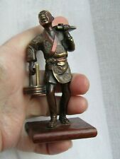 Antique Japanese Meiji period Bronze Copper Statue Man sell food Figurine.