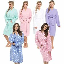 LADIES PURE COTTON WAFFLE SUMMER DRESSING GOWN ROBE Sizes Sml  Med Large