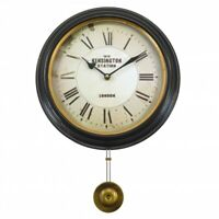 Round Pendulum Wall Clock, Classic Design, 43cm total height, Kensington London