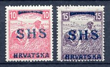 CROATIA SHS - HARVESTERS - WHITE NUMERALS - 10 Fil. MNH; 15 Fil. HINGED - VGQ