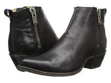 FRYE Womens Sacha Moto Shortie DBL Zipper Ankle Boots Black Leather 3478003-BLK