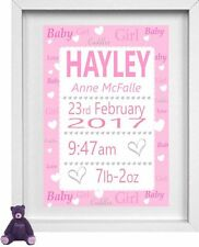 BABY GIRL NAME | Personalised Picture | New Baby | Hearts | FREE POST | (NP170)