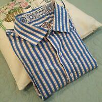 Robert Graham Mens 1XL Button Up Long Sleeve Dress Shirt Striped Blue White