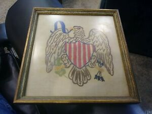 """RARE ANTIQUE PICTURE FRAMED EMBROIDERED USA PARAGON EAGLE FLAG 7 x 8"""""""