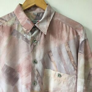 Vintage Mens 90s Abstract Crazy Print Shirt Size 41/42 L Pastel Summer Holiday