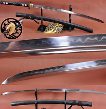 FOLDED STEEL CLAY TEMPERED UNOKUBI-ZUKURI BLADE LRON TSUBA JAPANESE SWORD KATANA