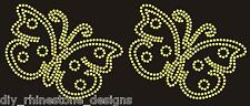 "Iron-On Rhinestone Design 5"" Butterfly Transfer Hot Fix Motif Any Color Set of 2"